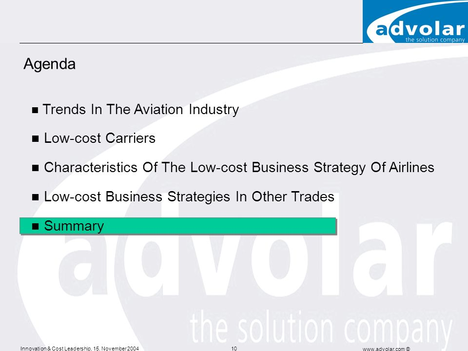 Agenda Low-cost Carriers