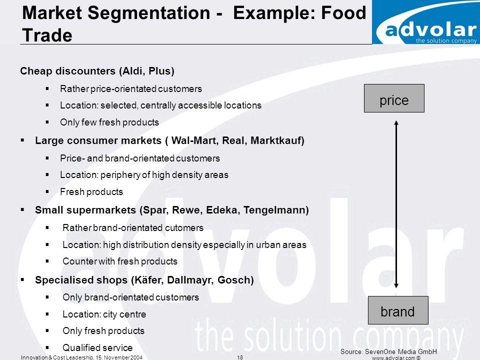 Market Segmentation - Example: Food Trade