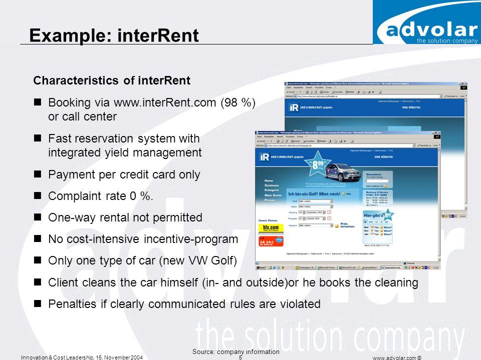 Example: interRent Characteristics of interRent