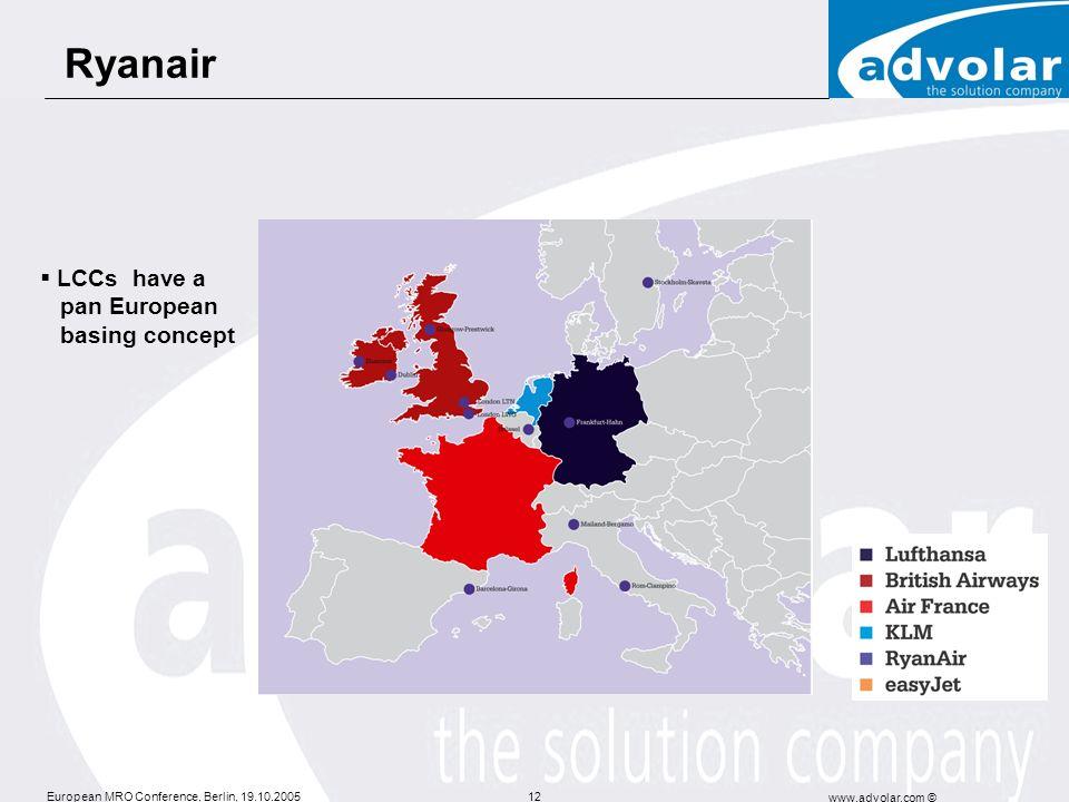 Ryanair LCCs have a pan European basing concept