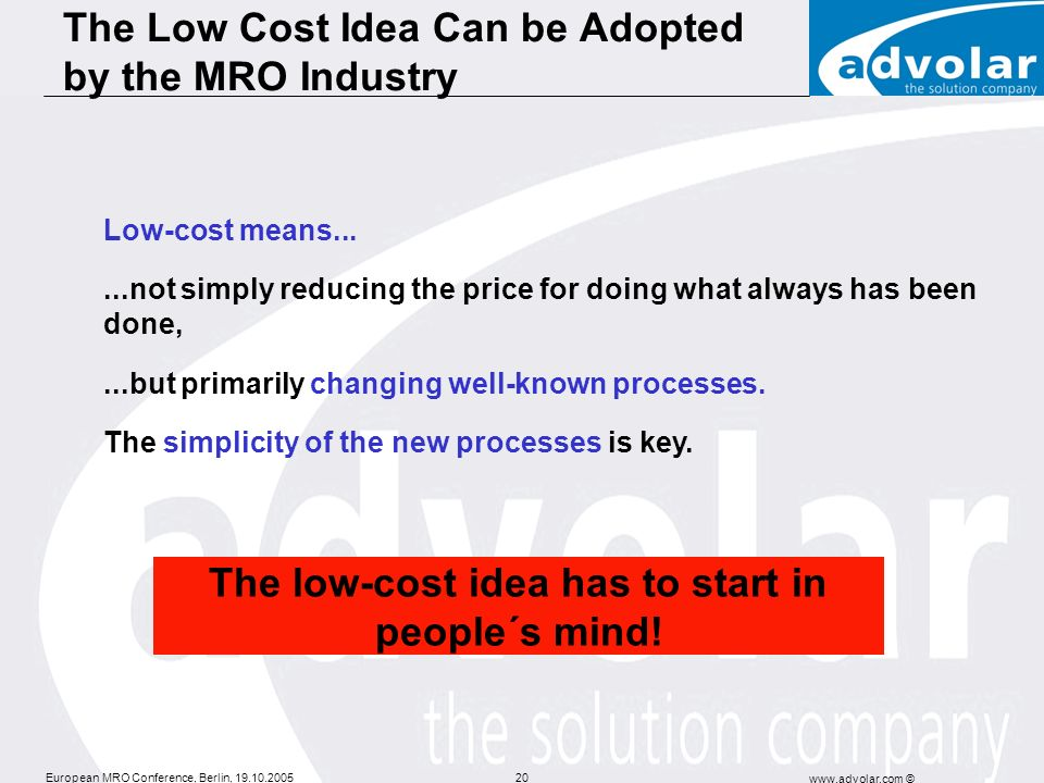 The Low Cost Idea Can be Adopted by the MRO Industry