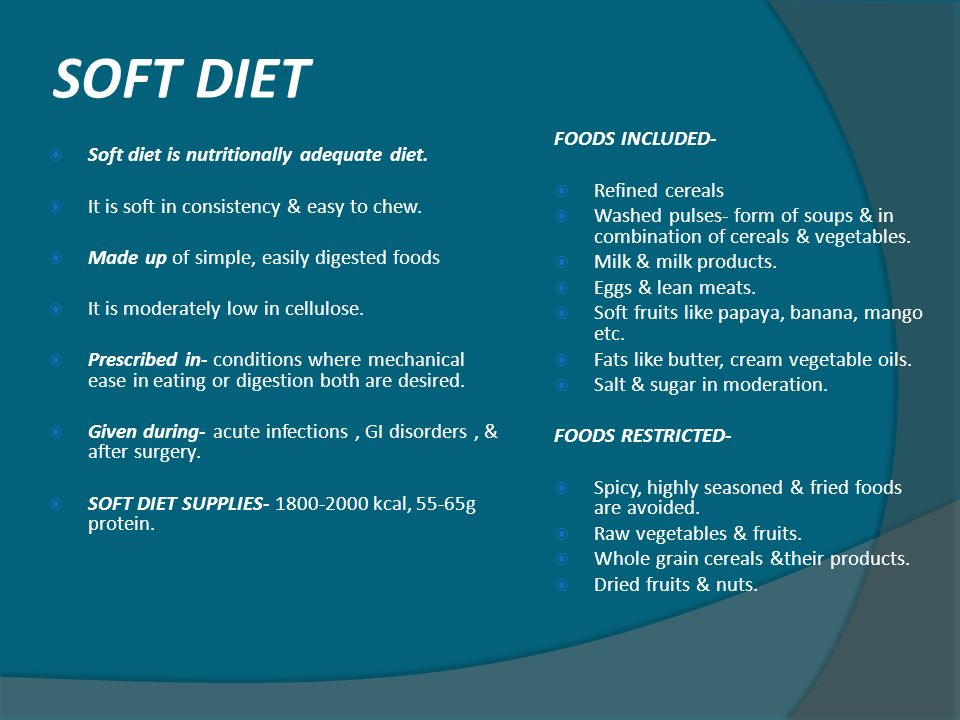Foods To Eat On A Soft Diet
