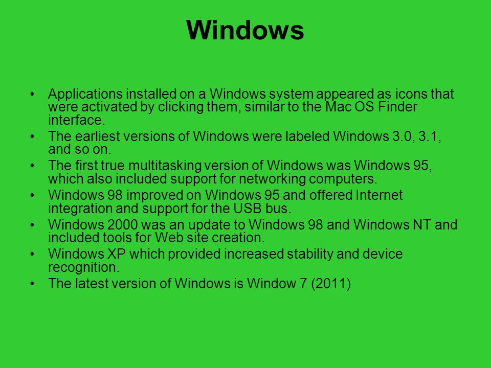 Windows Applications installed on a Windows system appeared as icons that were activated by clicking them, similar to the Mac OS Finder interface.
