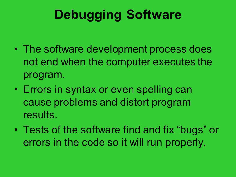 Debugging Software The software development process does not end when the computer executes the program.