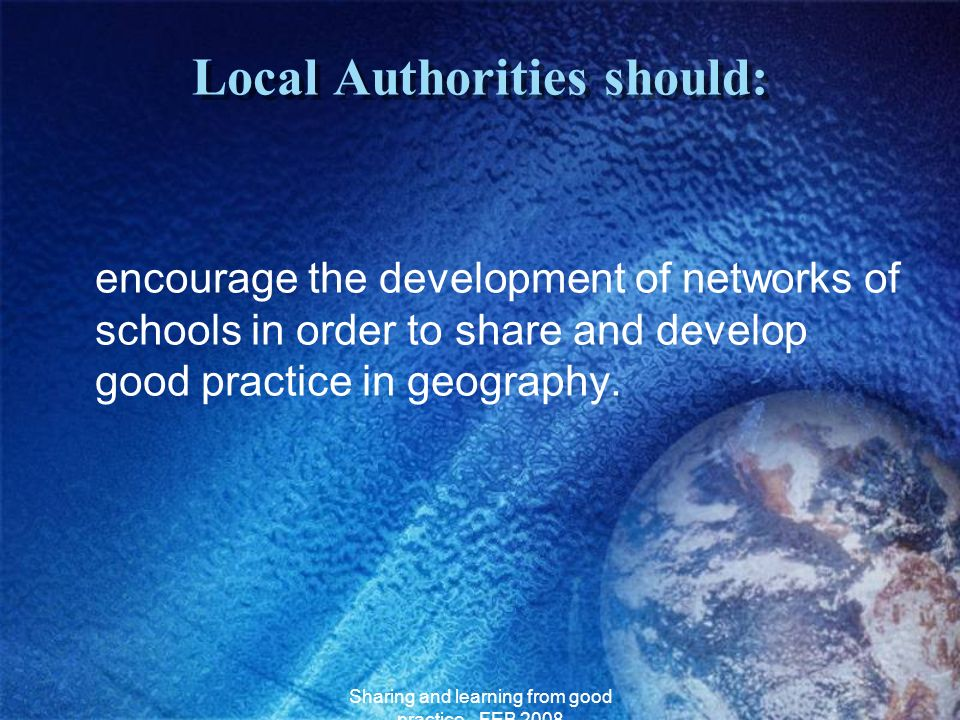Local Authorities should:
