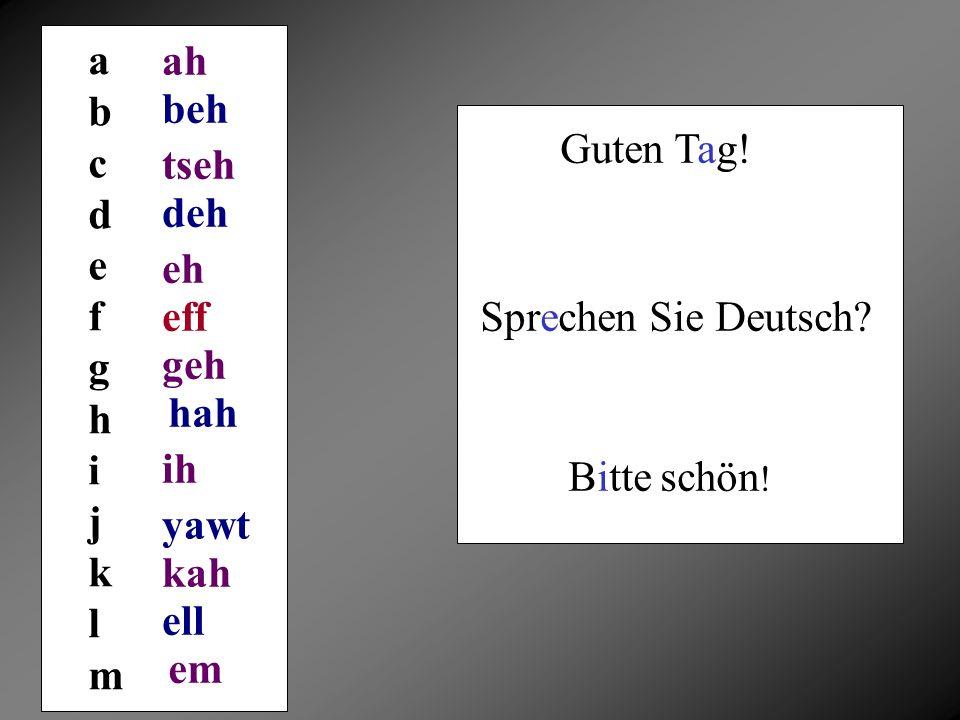 a b. c. d. e. f. g. h. i. j. k. l. m. ah. beh. Guten Tag! tseh. deh. eh. eff. Sprechen Sie Deutsch