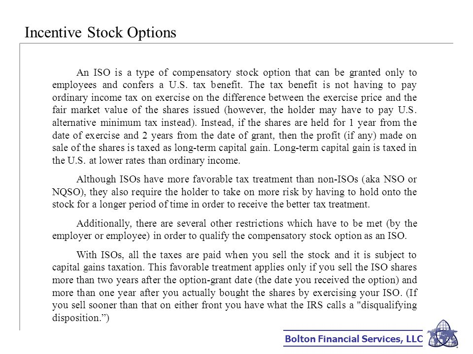 Irs publication incentive stock options