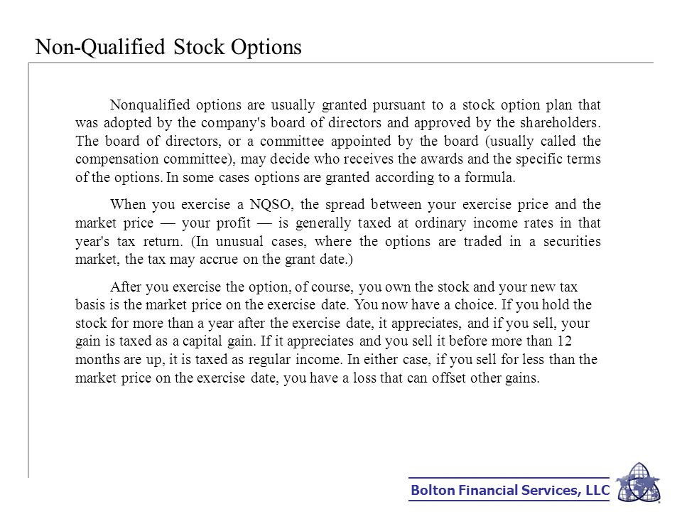 Exercise and hold non-qualified stock options