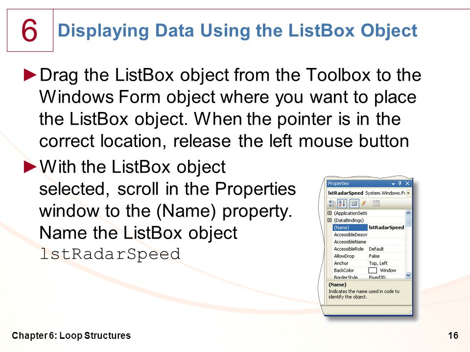 Displaying Data Using the ListBox Object
