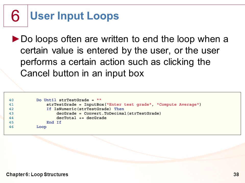 User Input Loops