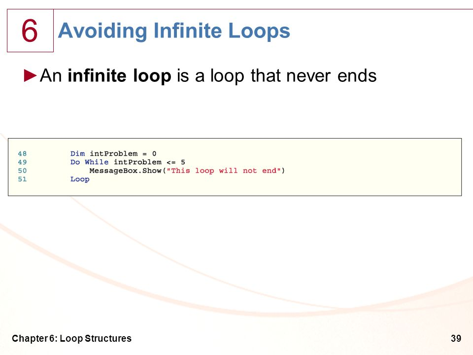 Avoiding Infinite Loops