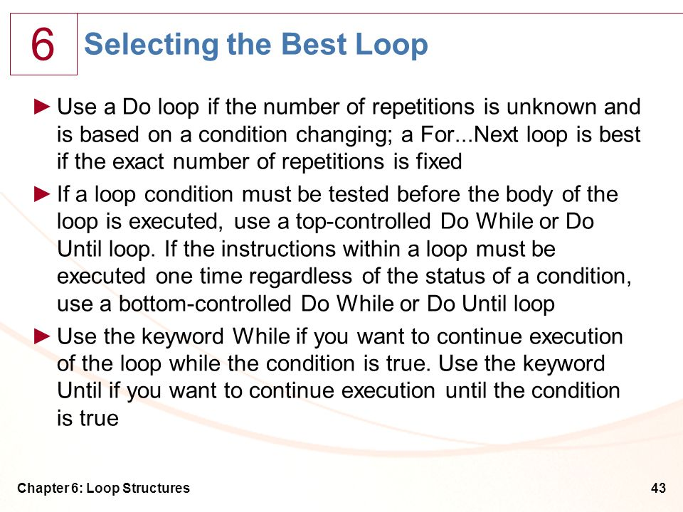Selecting the Best Loop