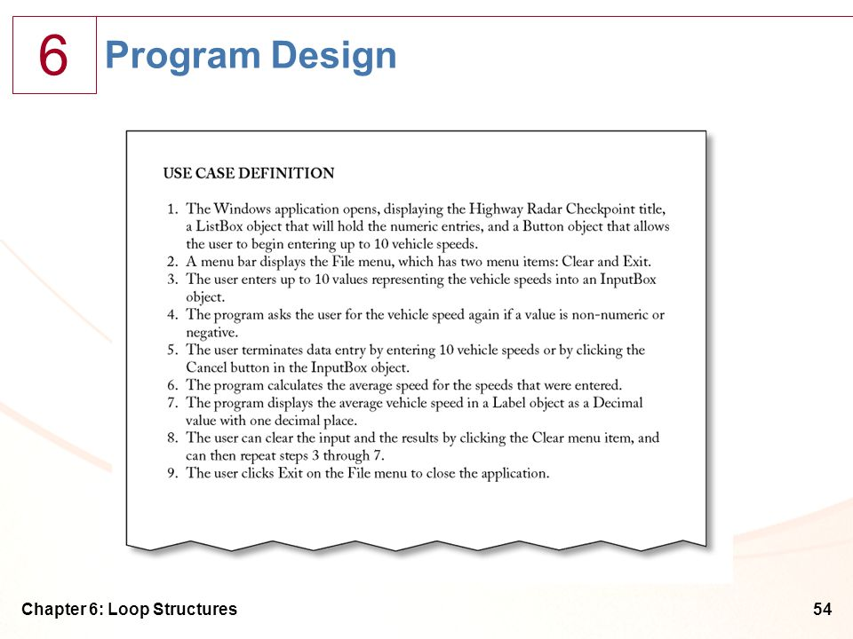 Program Design Chapter 6: Loop Structures