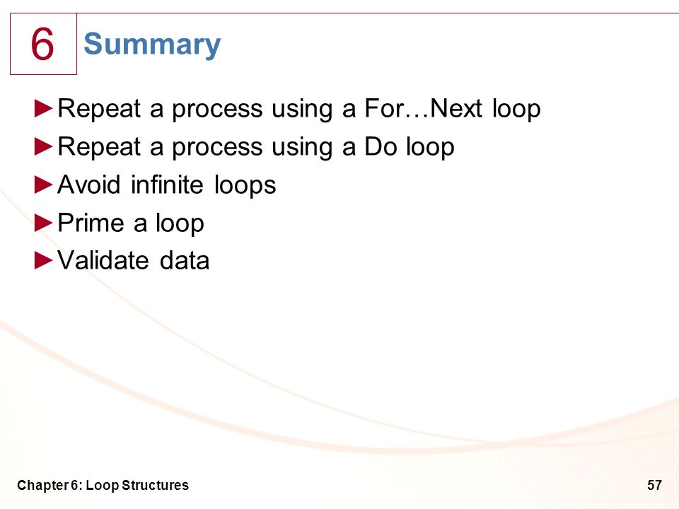 Summary Repeat a process using a For…Next loop