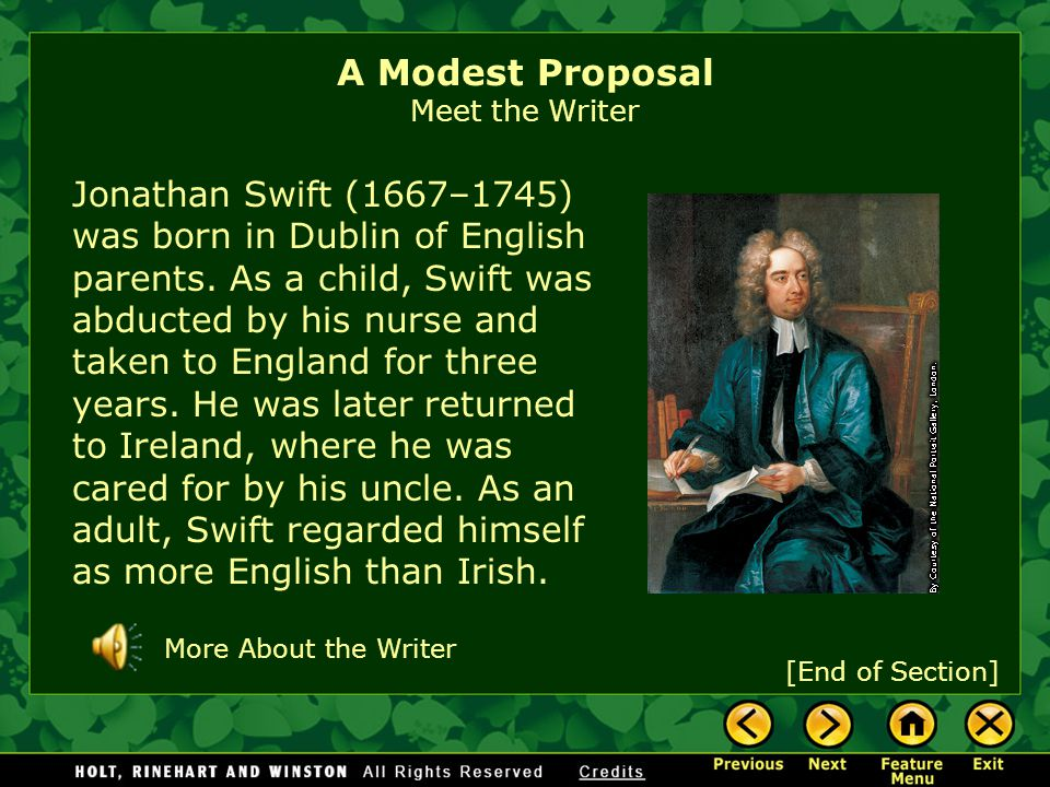 the famine in ireland in a modest proposal by jonathan swift The early l700s finds jonathan swift's native country of ireland in  year after  year crop failures have led to widespread poverty and hunger.