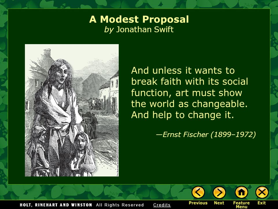 "irony in jonathan swifts a modest proposal Via his bizarre story telling in his essay ""a modest proposal,"" he  the use of  irony and exaggeration in jonathan swift's ""a modest proposal."