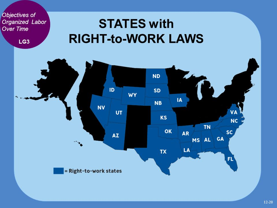 20 States With Right To Work Laws