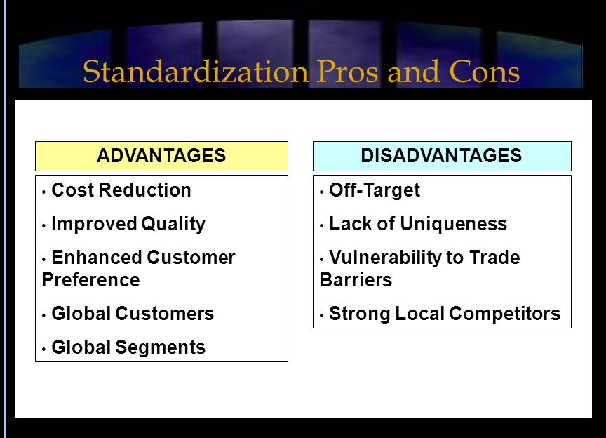 advantages adn disadvantages of standardisation adn Advantages and disadvantages of assessment techniques  collections of student work advantages:  are adaptable to different   set standards.