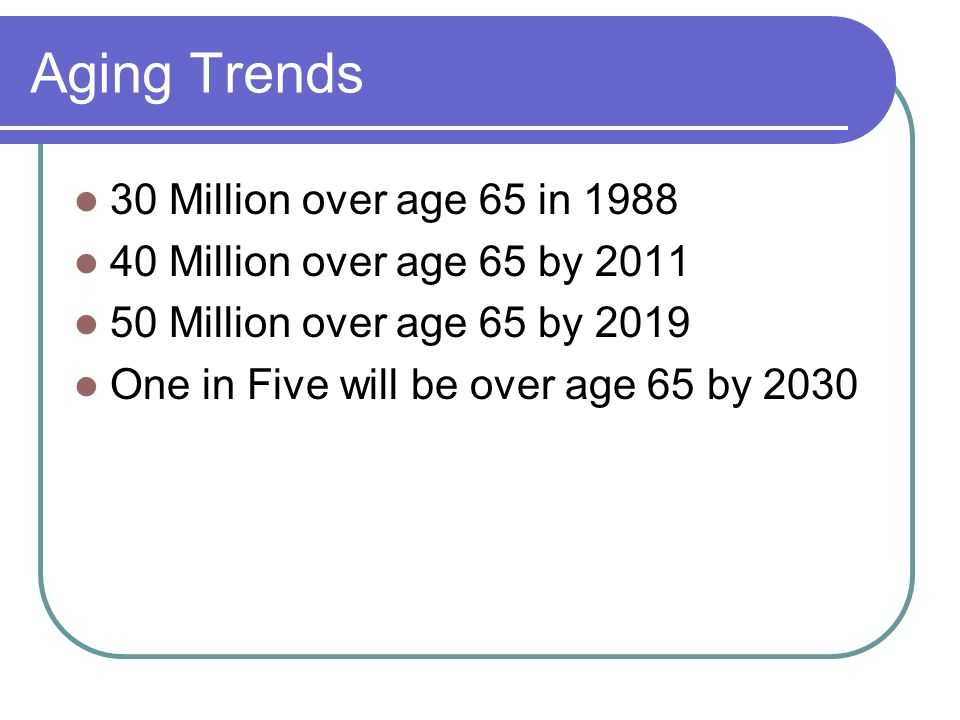 Aging Trends 30 Million over age 65 in 1988