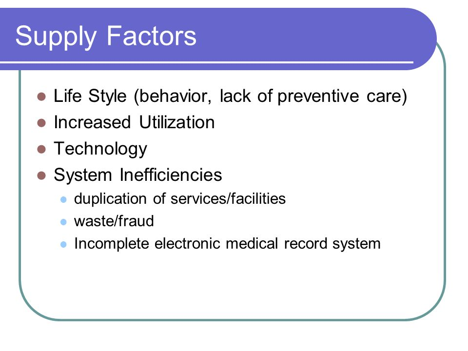 Supply Factors Life Style (behavior, lack of preventive care)