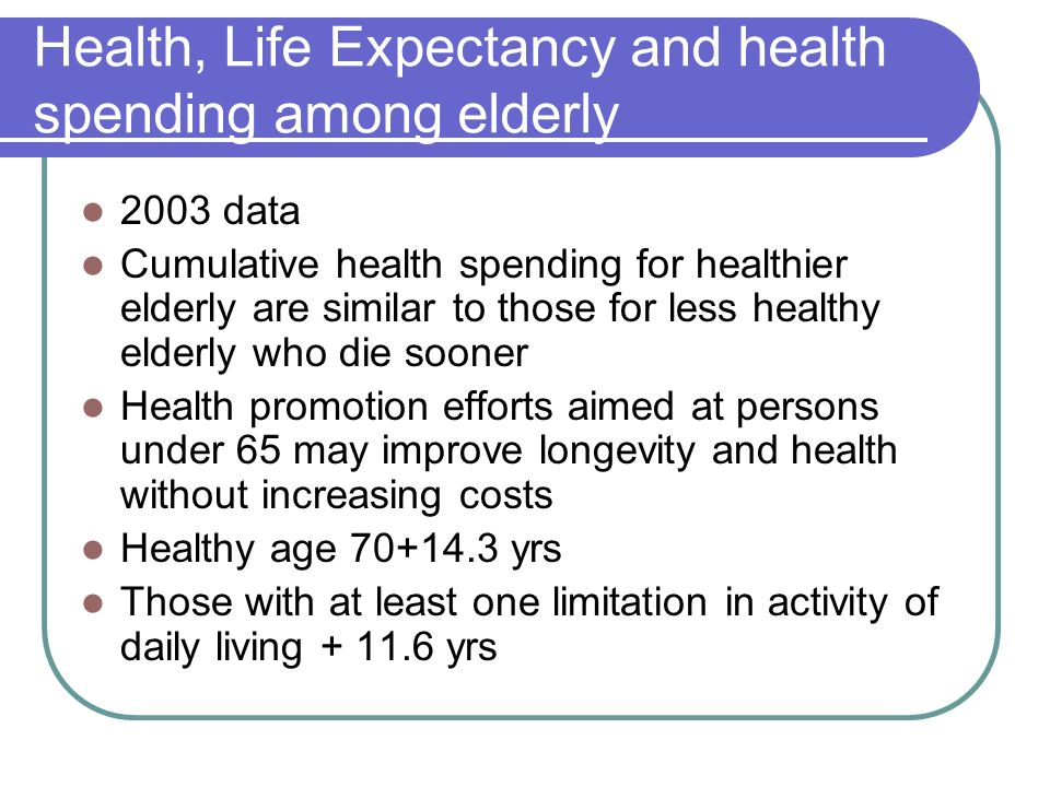 Health, Life Expectancy and health spending among elderly