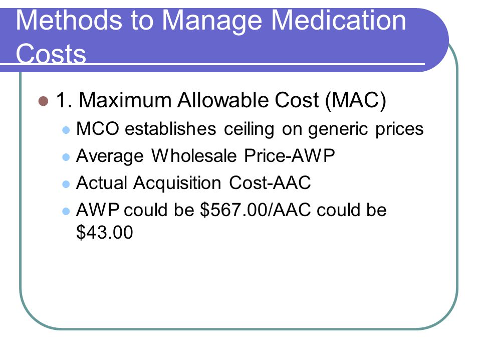 Methods to Manage Medication Costs