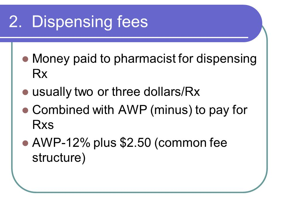 2. Dispensing fees Money paid to pharmacist for dispensing Rx