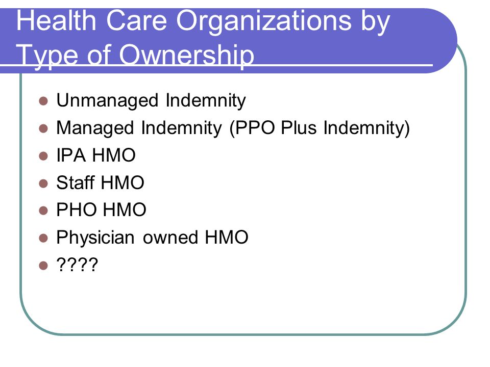 Health Care Organizations by Type of Ownership