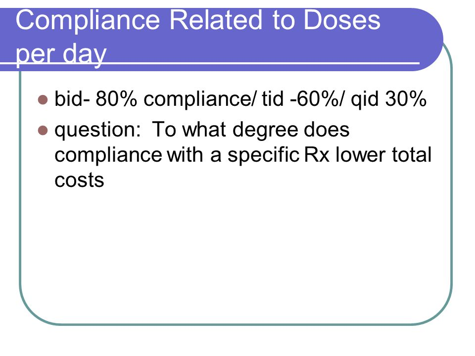 Compliance Related to Doses per day