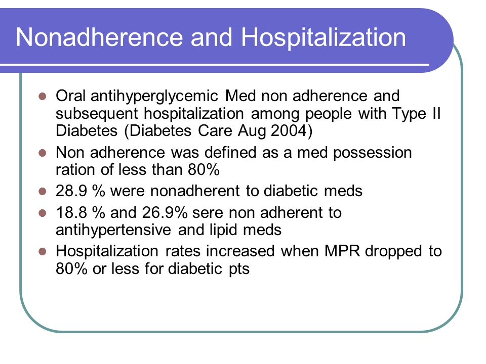 Nonadherence and Hospitalization