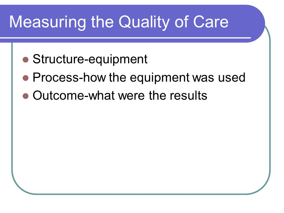 Measuring the Quality of Care