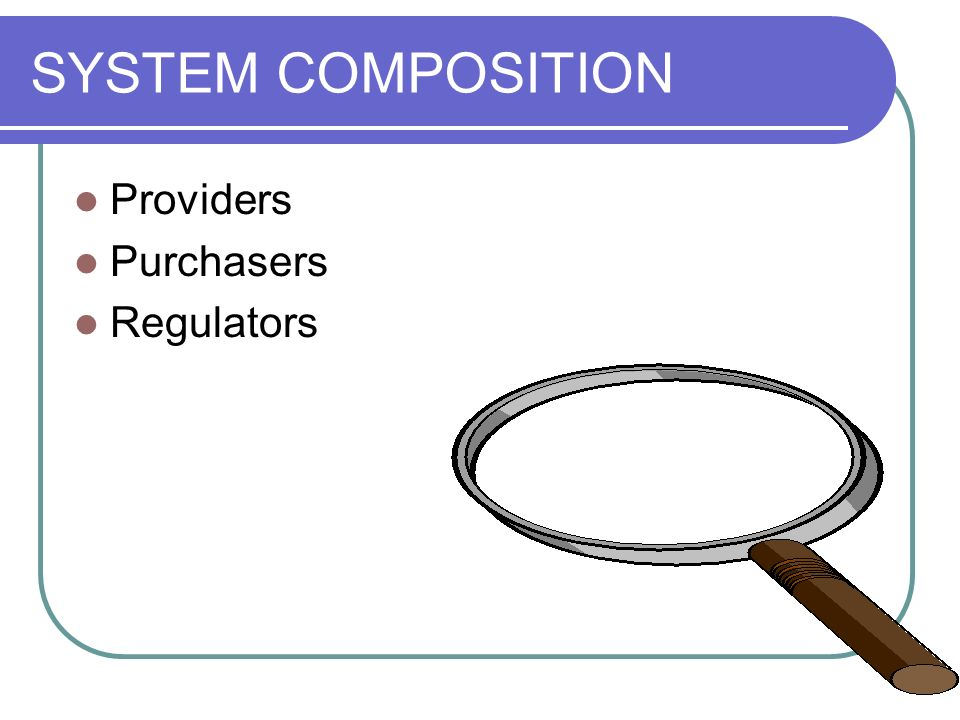 SYSTEM COMPOSITION Providers Purchasers Regulators