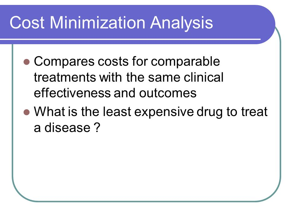 Cost Minimization Analysis