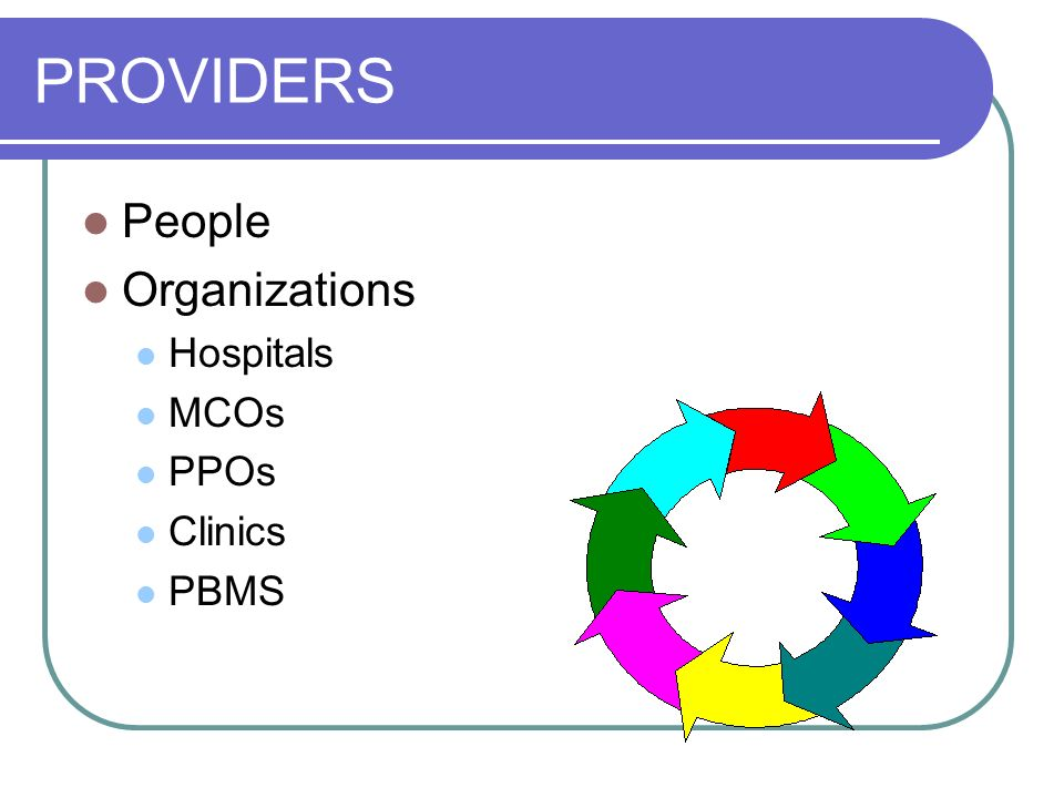 PROVIDERS People Organizations Hospitals MCOs PPOs Clinics PBMS