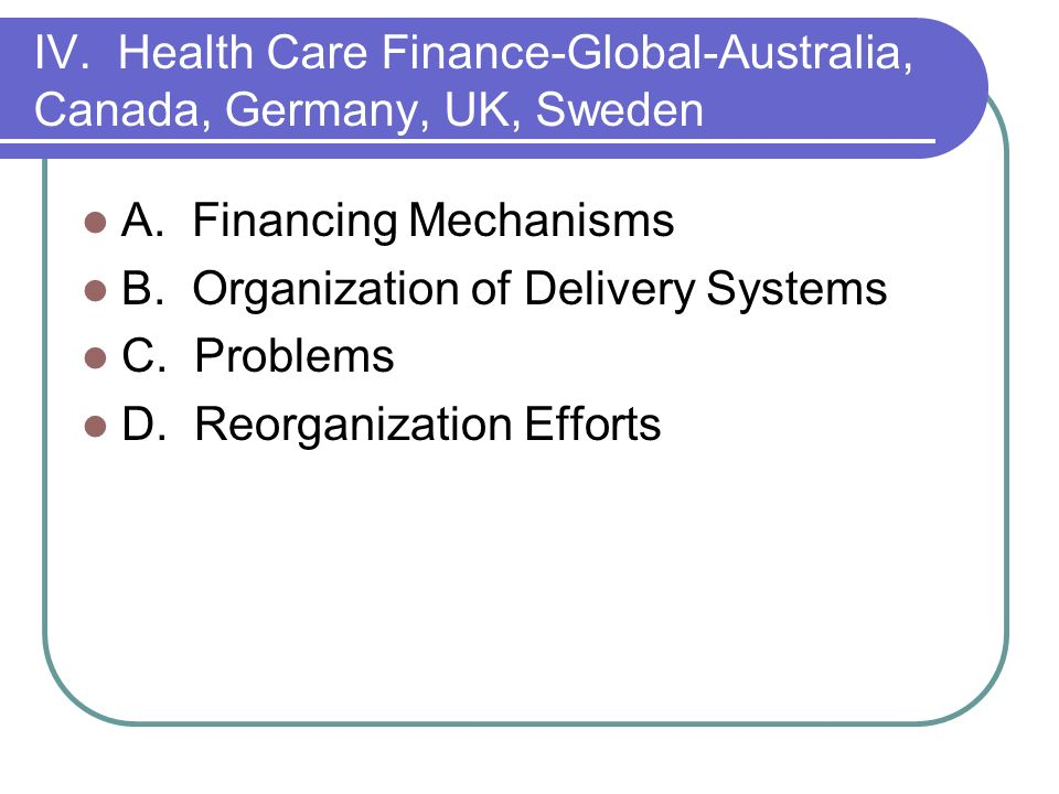 IV. Health Care Finance-Global-Australia, Canada, Germany, UK, Sweden