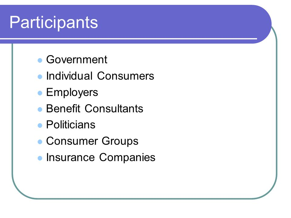 Participants Government Individual Consumers Employers