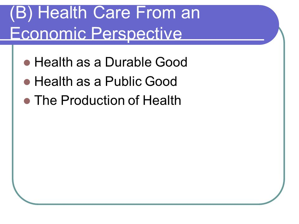 (B) Health Care From an Economic Perspective