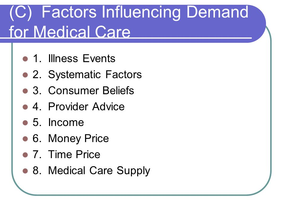 (C) Factors Influencing Demand for Medical Care
