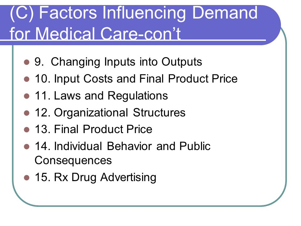 (C) Factors Influencing Demand for Medical Care-con't