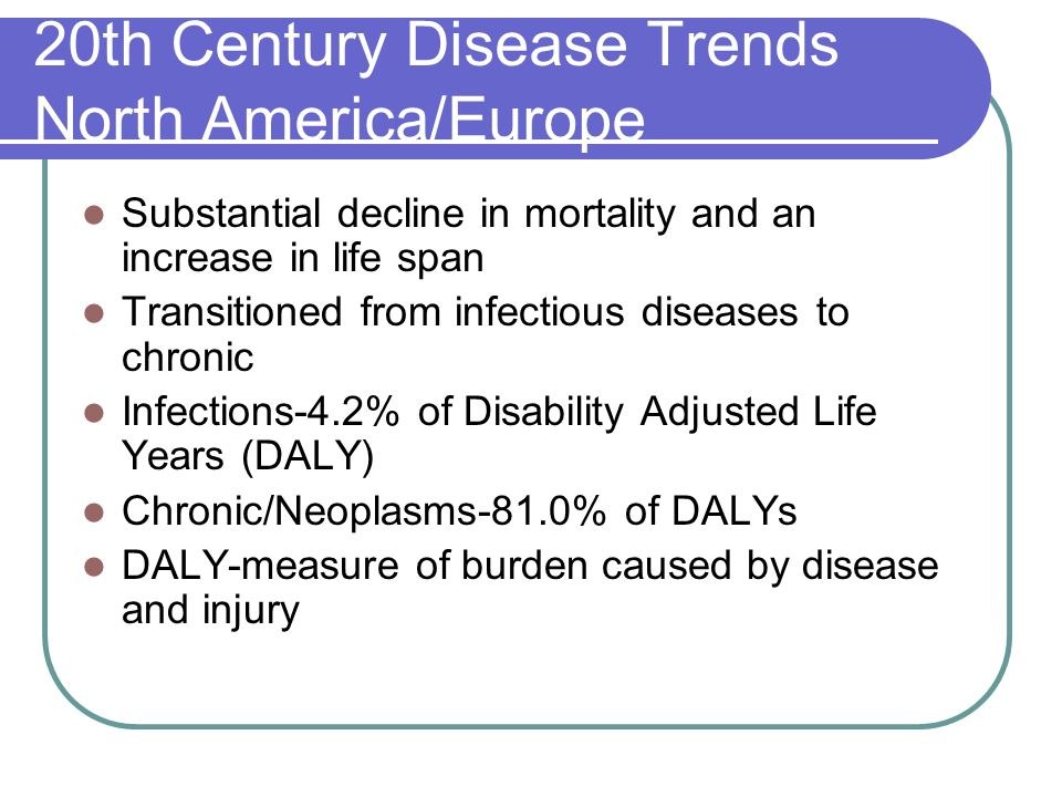 20th Century Disease Trends North America/Europe