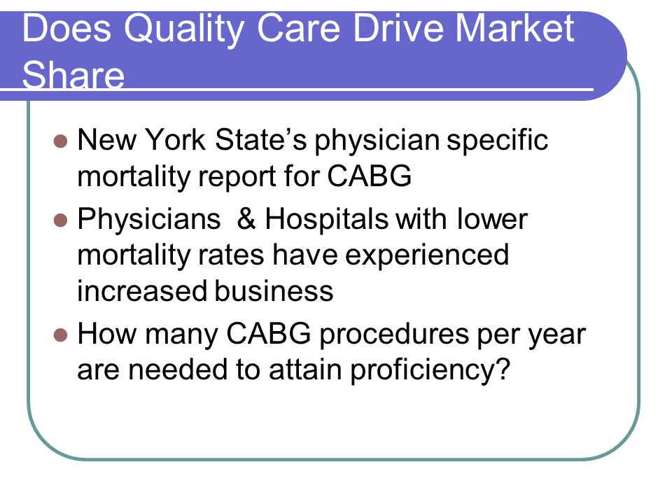 Does Quality Care Drive Market Share