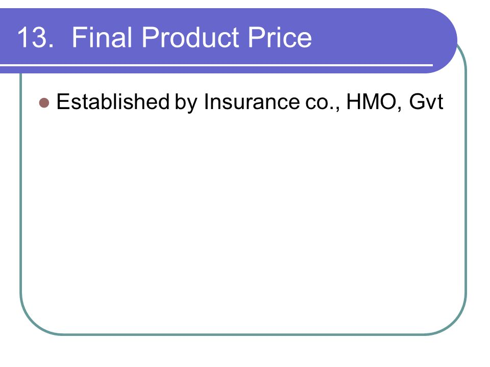 13. Final Product Price Established by Insurance co., HMO, Gvt