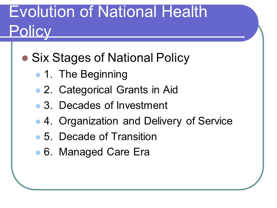 Evolution of National Health Policy