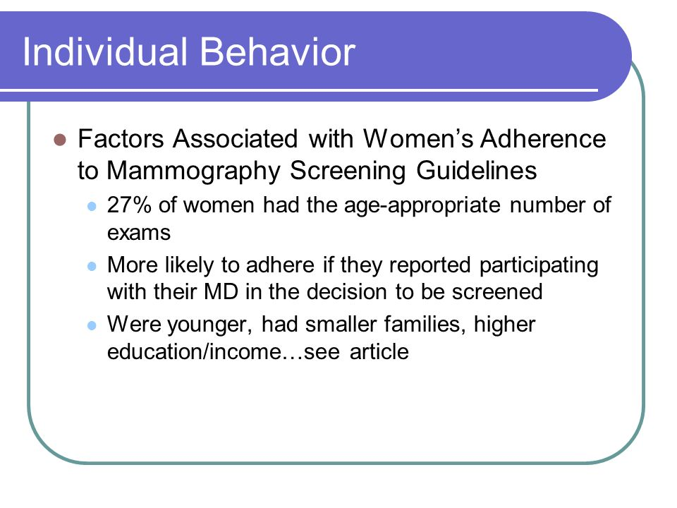 Individual Behavior Factors Associated with Women's Adherence to Mammography Screening Guidelines.