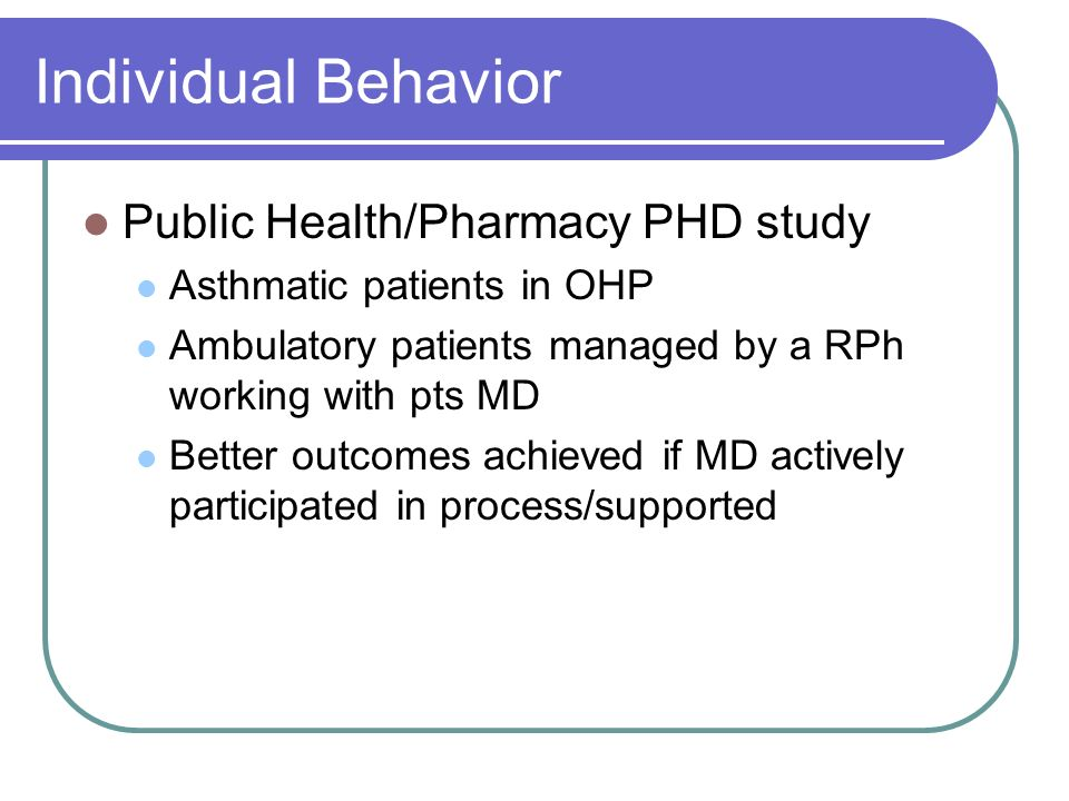 Individual Behavior Public Health/Pharmacy PHD study