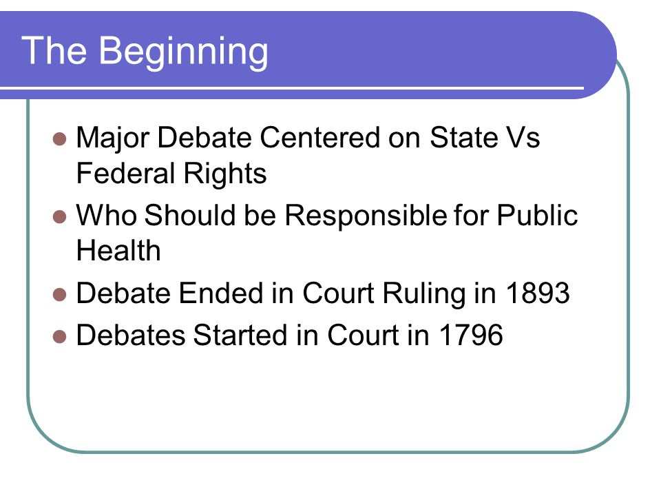 The Beginning Major Debate Centered on State Vs Federal Rights