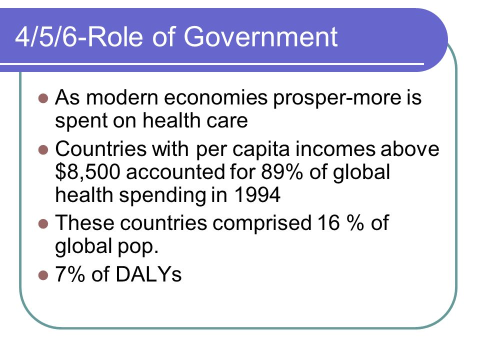 4/5/6-Role of Government As modern economies prosper-more is spent on health care.