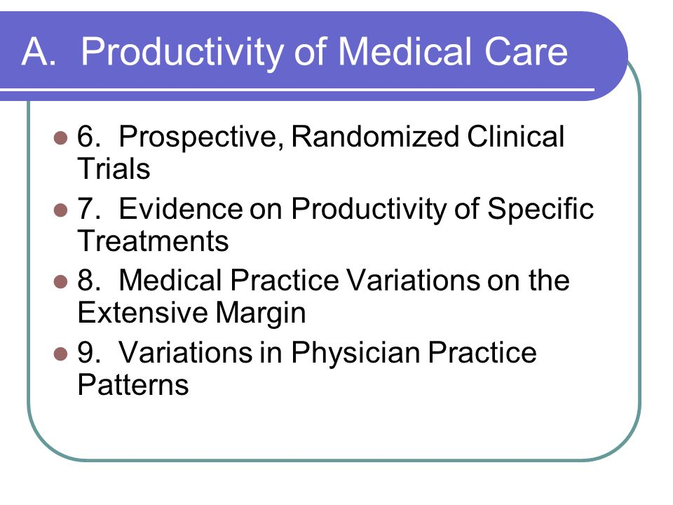 A. Productivity of Medical Care