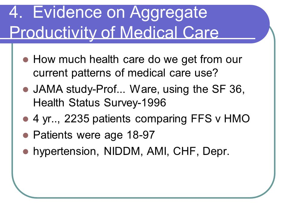 4. Evidence on Aggregate Productivity of Medical Care
