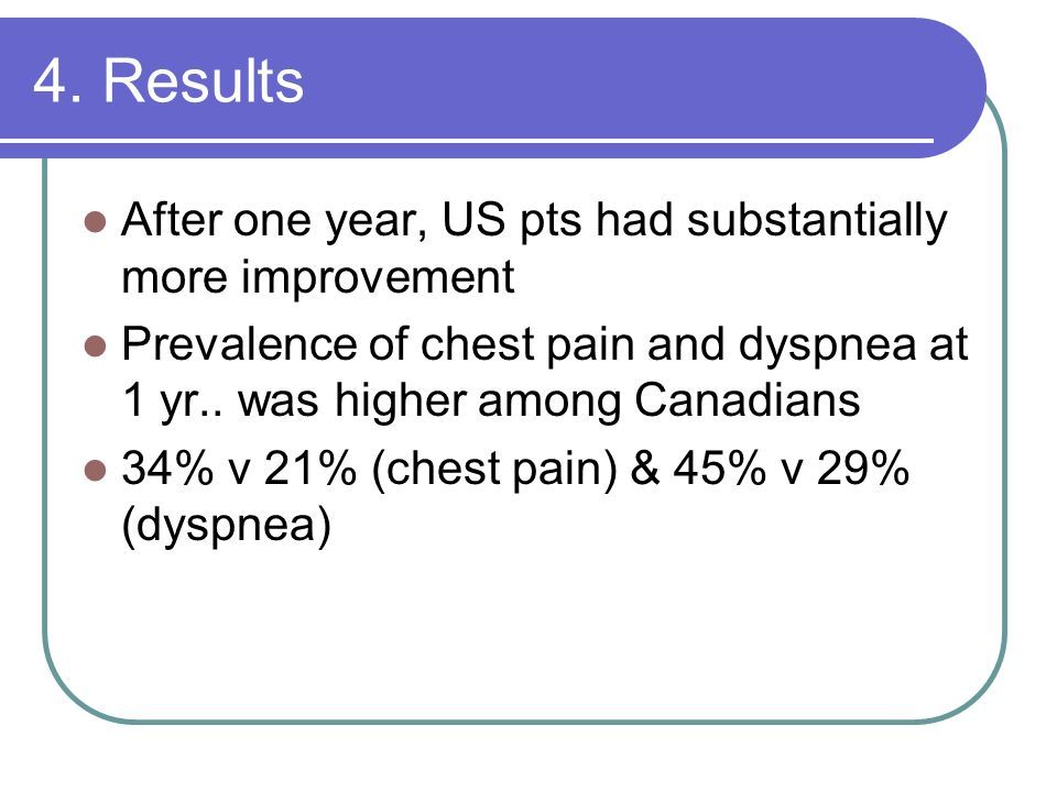 4. Results After one year, US pts had substantially more improvement